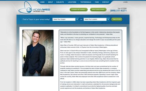 Screenshot of About Page adamwes.com - Biography for Entrepreneur and Educator, Adam Wes - captured Oct. 4, 2014