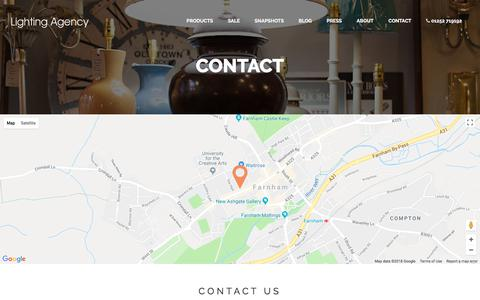 Screenshot of Contact Page lightingagency.co.uk - Lighting AgencyContact - captured July 19, 2018