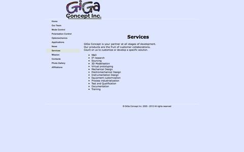 Screenshot of Services Page gigaconcept.com - gigaconcept.com - Services - captured Nov. 6, 2016