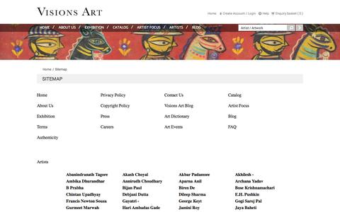 Screenshot of Site Map Page visionsarts.com - Gallery for Modern and Contemporary Indian Art - captured Oct. 26, 2014
