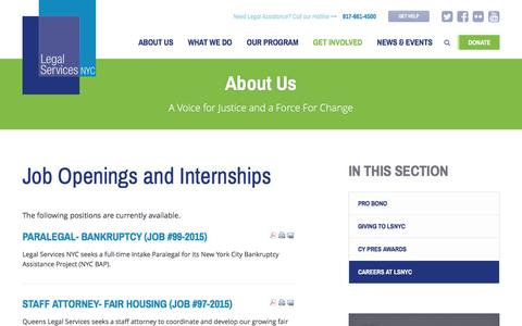 Screenshot of Jobs Page legalservicesnyc.org - Job Openings and Internships - Legal Services NYC - captured Dec. 8, 2015