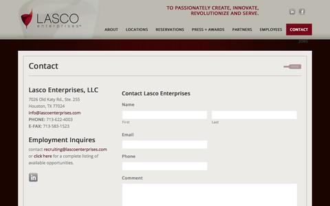 Screenshot of Contact Page lascoenterprises.com - Contact - captured Aug. 20, 2019