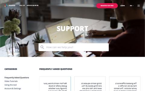 Screenshot of Support Page resmio.com - Support - Restaurant reservations & marketing | resmio - captured Dec. 6, 2016