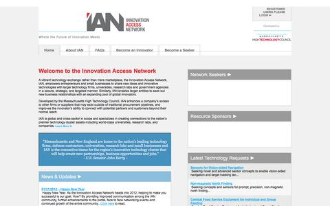 Screenshot of Home Page Privacy Page FAQ Page Terms Page innovationaccess.org - Welcome to www.innovationaccess.org - captured Oct. 15, 2017