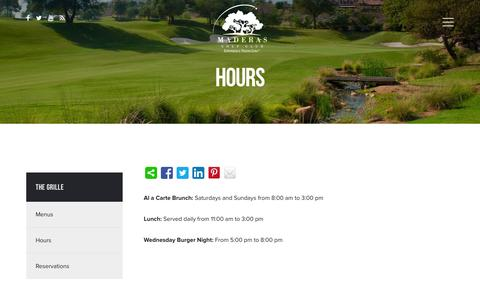 Screenshot of Hours Page maderasgolf.com - Hours - The Grille at Maderas Golf Club - captured Feb. 4, 2016