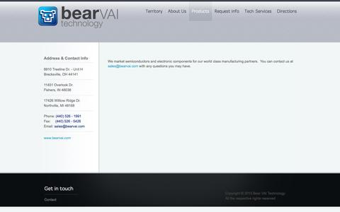 Screenshot of Products Page bearvai.com - Products | Bear VAI Technology - captured Nov. 22, 2016