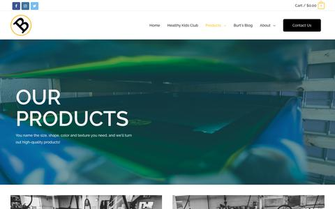Screenshot of Products Page burtslogoapparel.com - Products - Burts Logo & Apparel - captured Nov. 6, 2018