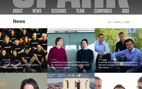 Screenshot of Press Page sparkcapital.com - News | Spark Capital - captured Jan. 21, 2016