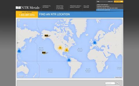 Screenshot of Locations Page ntrmetals.com - Locations - captured Nov. 5, 2014