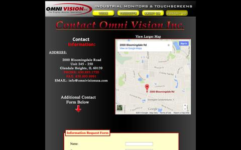 Screenshot of Contact Page omnivisionusa.com - Contact Omni Vision Inc. Industrial LCD and CRT Producer - captured Oct. 26, 2014