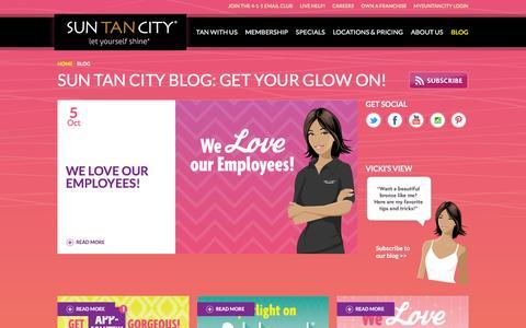Screenshot of Blog suntancity.com - The Sun Tan City Blog: Get Your Glow On! - captured Oct. 14, 2015