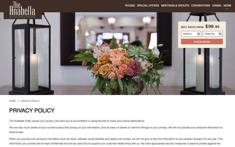 Screenshot of Privacy Page anabellahotel.com - Privacy Policy | Anabella Hotel | Anaheim, CA - captured Oct. 8, 2017