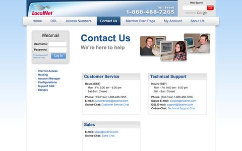 Screenshot of Contact Page localnet.com - LocalNet: Contact Us - captured July 21, 2018