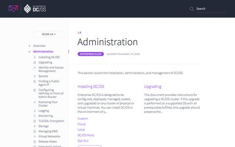 Administration - Mesosphere DC/OS Documentation
