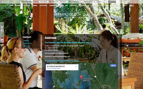 Screenshot of Contact Page theparadisekohyao.com - Contact-The Paradise Koh Yao Resort & Spa-Koh Yao Noi Island near Phuket & Krabi | Luxury KoYao Resort in Thailand - captured Sept. 19, 2014