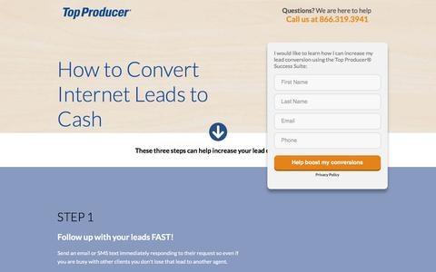 Screenshot of Landing Page topproducer.com - The Top Producer® Success Suite helps you Convert Internet Leads to Cash - captured July 29, 2016