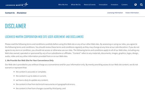 Screenshot of Privacy Page Terms Page lockheedmartin.com - Disclaimer - captured April 13, 2018