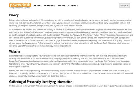Screenshot of Privacy Page powerdash.com - PowerDash Energy Monitoring | Legal: Privacy Policy - captured Nov. 5, 2018