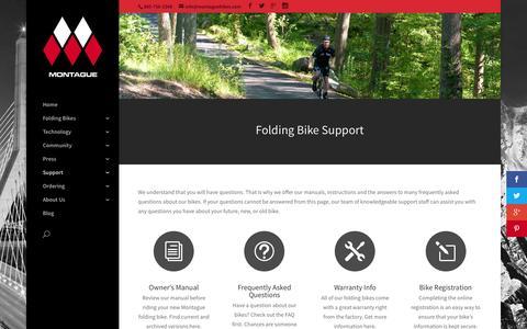 Screenshot of Support Page montaguebikes.com - Folding Bike Support | Montague Bikes - captured Feb. 14, 2016