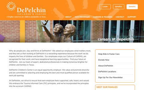Screenshot of Jobs Page depelchin.org - DePelchin Careers & Training   Texas - captured Sept. 27, 2018