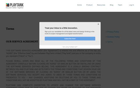 Screenshot of Terms Page playtank.net - Terms - PlayTank - captured July 20, 2018
