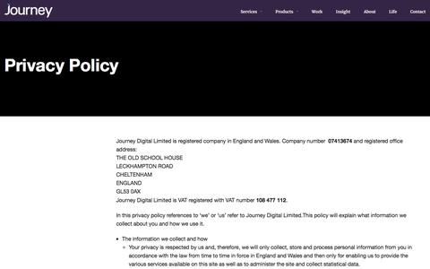 Screenshot of Privacy Page wearejourney.co.uk - Privacy Policy | Journey - captured Feb. 11, 2016