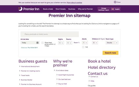 Screenshot of Site Map Page premierinn.com - Sitemap | Premier Inn - captured Oct. 18, 2017