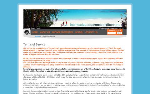 Screenshot of Terms Page bermudarentals.com - Terms of Service | Bermuda Accommodations Inc. - captured Nov. 22, 2016