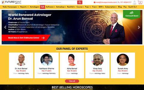 Screenshot of Home Page futurepointindia.com - Free Online Vedic Astrology Prediction | Future Point - captured Aug. 18, 2019