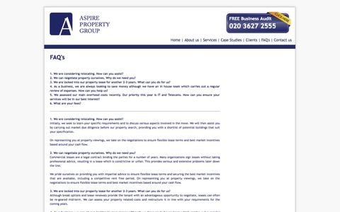 Screenshot of FAQ Page aspirepg.com - Home - Aspire Property Group - captured Oct. 4, 2014