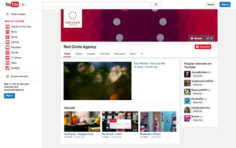 Screenshot of YouTube Page youtube.com - Red Circle Agency  - YouTube - captured Oct. 26, 2014
