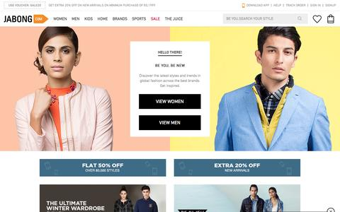 Screenshot of Home Page jabong.com - Online Shopping India: Shop Shoes, Clothing, Bags, Watches Online in India - captured Nov. 10, 2015
