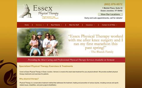 Screenshot of Services Page eptvt.com - Physical Therapists | Essex Junction, VT - captured Sept. 29, 2018