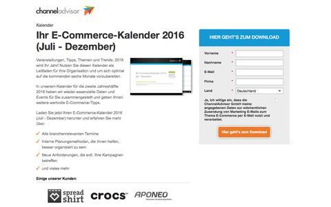 Screenshot of Landing Page channeladvisor.com - Ihr E-Commerce-Kalender 2016 | ChannelAdvisor - captured Feb. 25, 2017