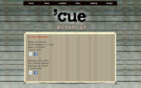 Screenshot of About Page Contact Page Locations Page cuebarbecue.com - Cue Barbecue - captured Oct. 25, 2014