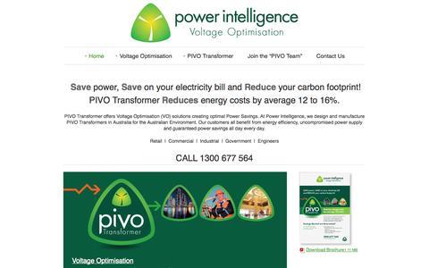 Screenshot of Home Page powerintelligence.com.au - Power Intelligence Voltage Optimisation   PIVO Transformer   Energy Efficiency - captured Oct. 2, 2014