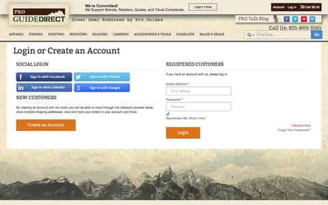 Screenshot of Signup Page Login Page proguidedirect.com - Customer Login - captured Oct. 22, 2014