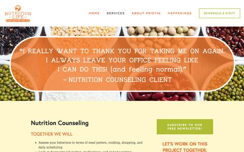 Screenshot of Services Page nutritionforlifeinc.com - Services — Nutrition for Life Inc. - captured Jan. 12, 2016
