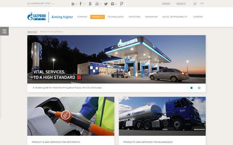 Screenshot of Products Page gazprom-neft.com - Products and services for motorists and business — Gazprom Neft PJSC - captured Nov. 1, 2018