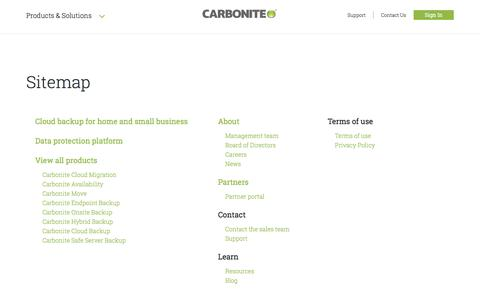 Screenshot of Site Map Page carbonite.com - Site Map - captured Oct. 26, 2017