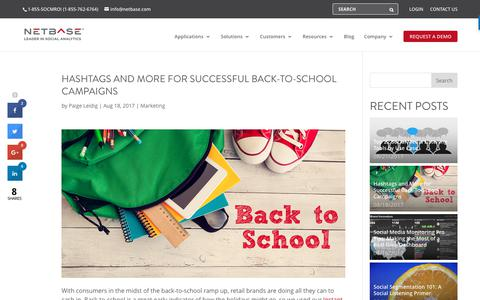 Screenshot of netbase.com - Hashtags for Successful Back-to-School Campaigns - captured Aug. 23, 2017