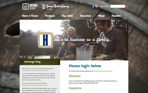 Screenshot of Login Page haydenbeverage.com - Hayden Beverage Logins - captured Sept. 29, 2014