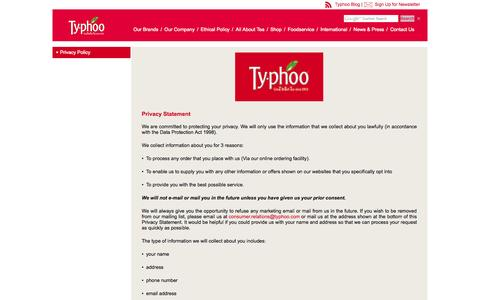 Screenshot of Privacy Page typhootea.com - Typhoo - Privacy Policy - captured Oct. 7, 2014