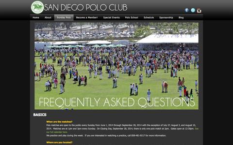 Screenshot of FAQ Page sandiegopolo.com - FAQ - captured Nov. 1, 2014