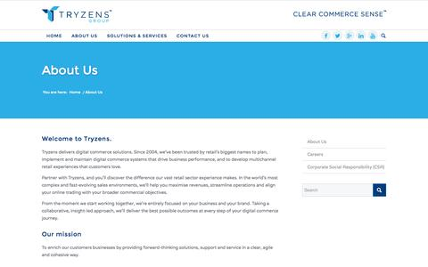 Screenshot of About Page tryzens.com - About Us - Tryzens - Clear Commerce Sense - captured Sept. 19, 2014