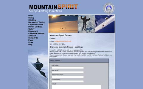 Screenshot of Contact Page mountain-spirit-guides.com - Contact Mountain Spirit Guides - captured Sept. 30, 2014