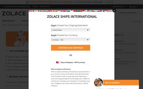 Screenshot of Support Page zolace.com - Customer Service and General Questions - Zolace.com - captured Jan. 23, 2017