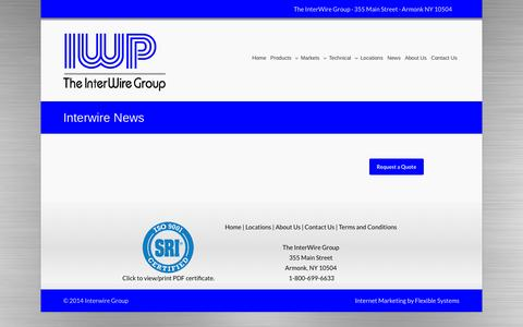 Screenshot of Press Page interwiregroup.com - Wire Company New York | Stainless Steel Wire New York | Piano Wire NY - captured Sept. 30, 2014