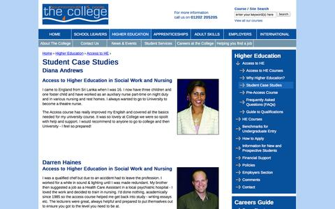 Screenshot of Case Studies Page thecollege.co.uk - Student Case Studies | The Bournemouth & Poole College - captured Sept. 24, 2014