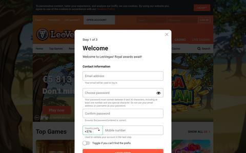 Screenshot of Signup Page leovegas.com - LeoVegas - King of Mobile Casino - captured Aug. 9, 2019